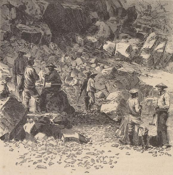 Illustration by unknown artist. Caption: 'Central Pacific Railroad–Chinese Laborers at Work.' Harper's Weekly, Vol. XI, No. 571, p. 772.