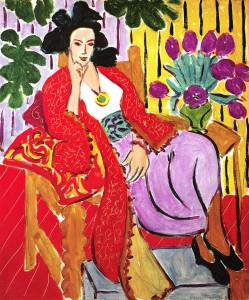 Matisse painting, odalisque in red coat