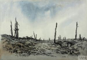 A Shell-hole Group (Art.IWM ART 601) image: a battle scarred landscape, with a track passing between blasted trees and debris. An artillery piece is on the ridge to the left and the damaged entrance to a dug-out is to the right. Copyright: © IWM. Original Source: http://www.iwm.org.uk/collections/item/object/12943