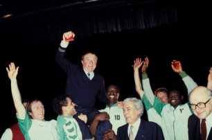 Le triplé du CSP Limoges d'André Buffière avec la Coupe Korac en 1983 (c) Le Populaire du Centre