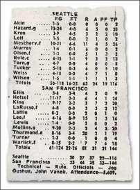 Feuille de match Seattle - San Francisco le 13 octobre 1967