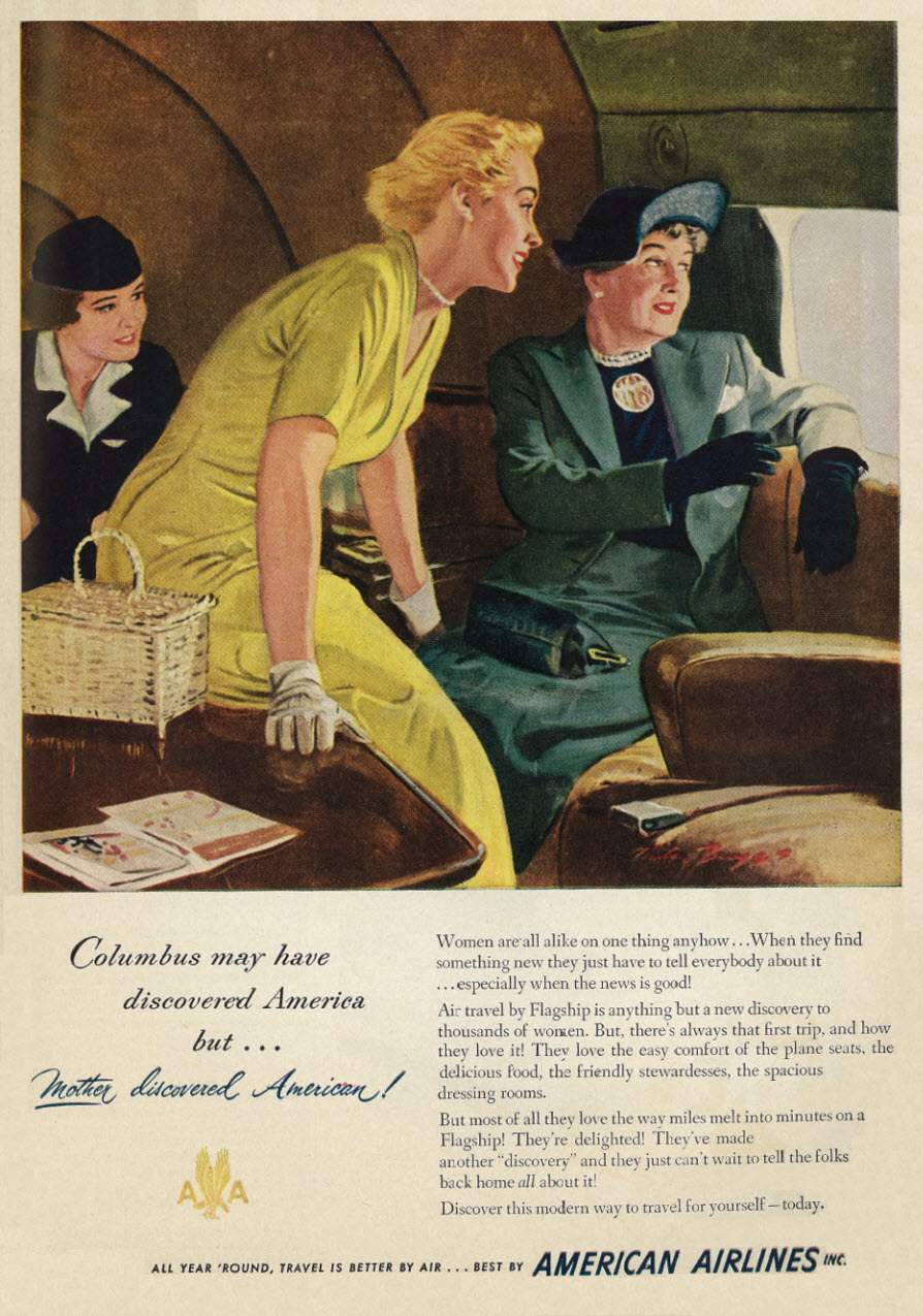 American Airlines Ad From 1949 Flashbak