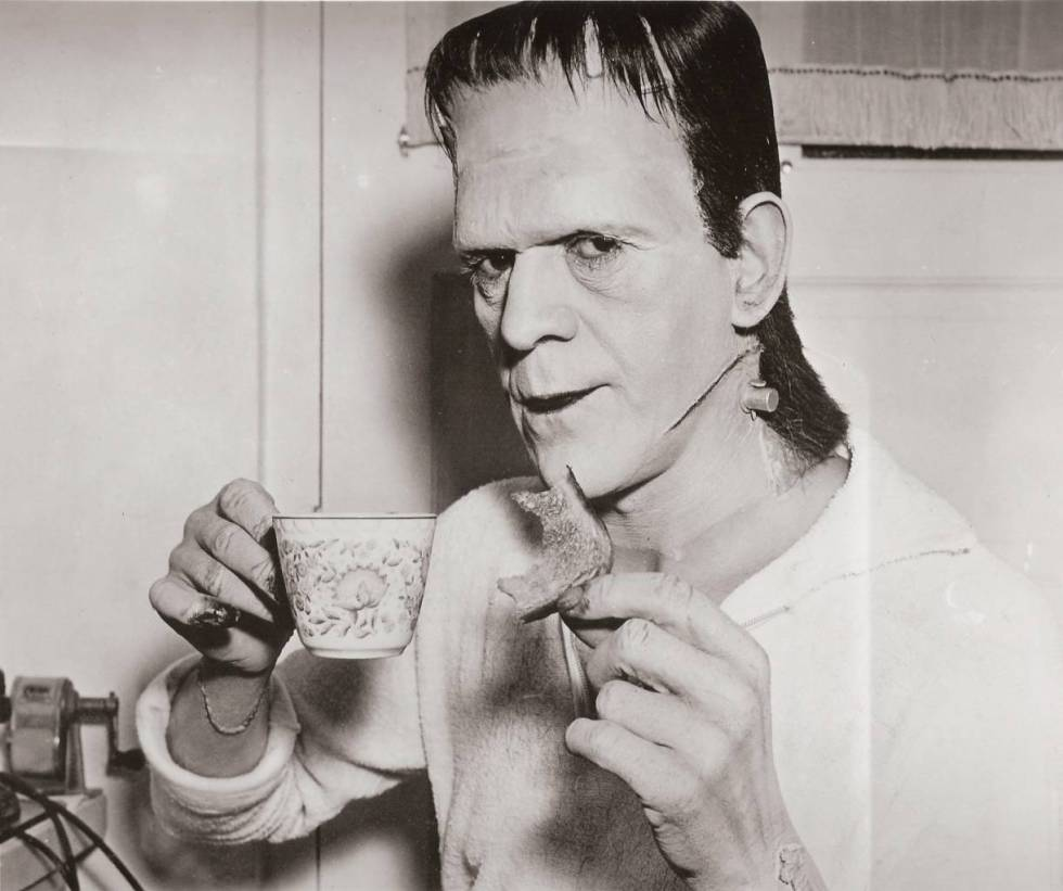 Boris Karloff having a nice cup of tea and a piece of toast between shots of Frankenstein, released in 1931.