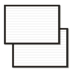 A6 flashcards lined with a black border