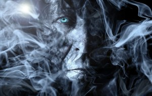 old man in smoke