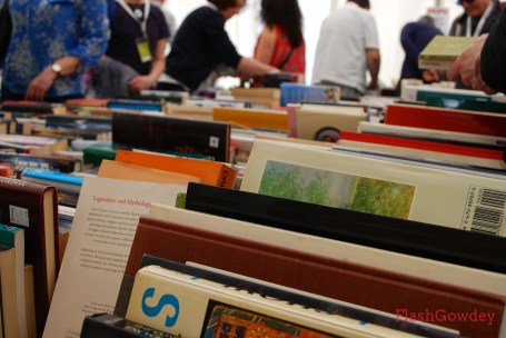 Books for sale at the Oxfam shop on festival grounds.