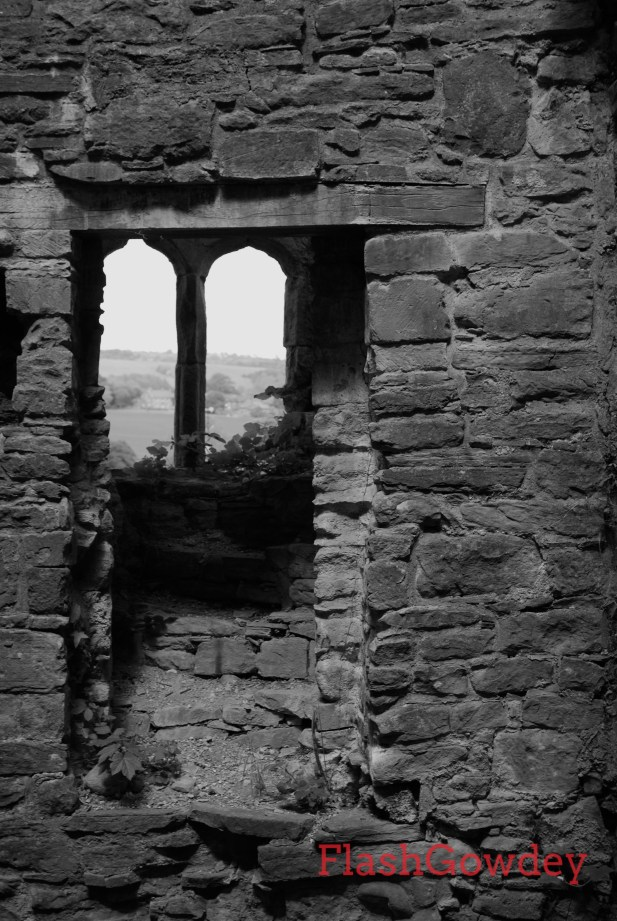 The crumbling remains of a spiral staircase in the Hay Castle keep.