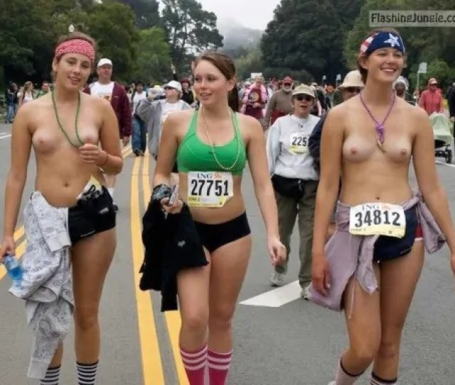 Happy Girls Cooling Off After Topless Marathon