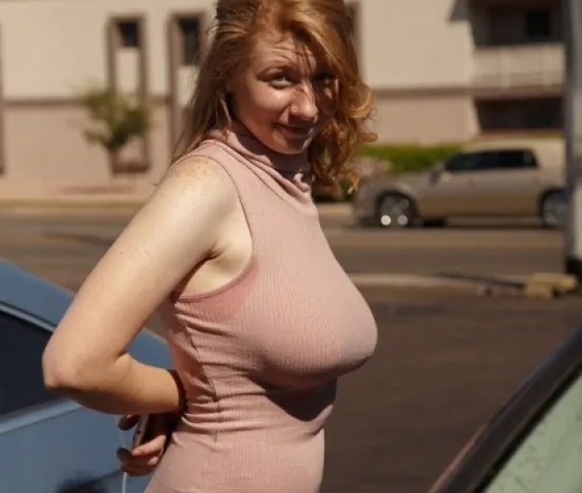 Big Natural Boobs No Bra Ginger Wife Tight Dress Howife