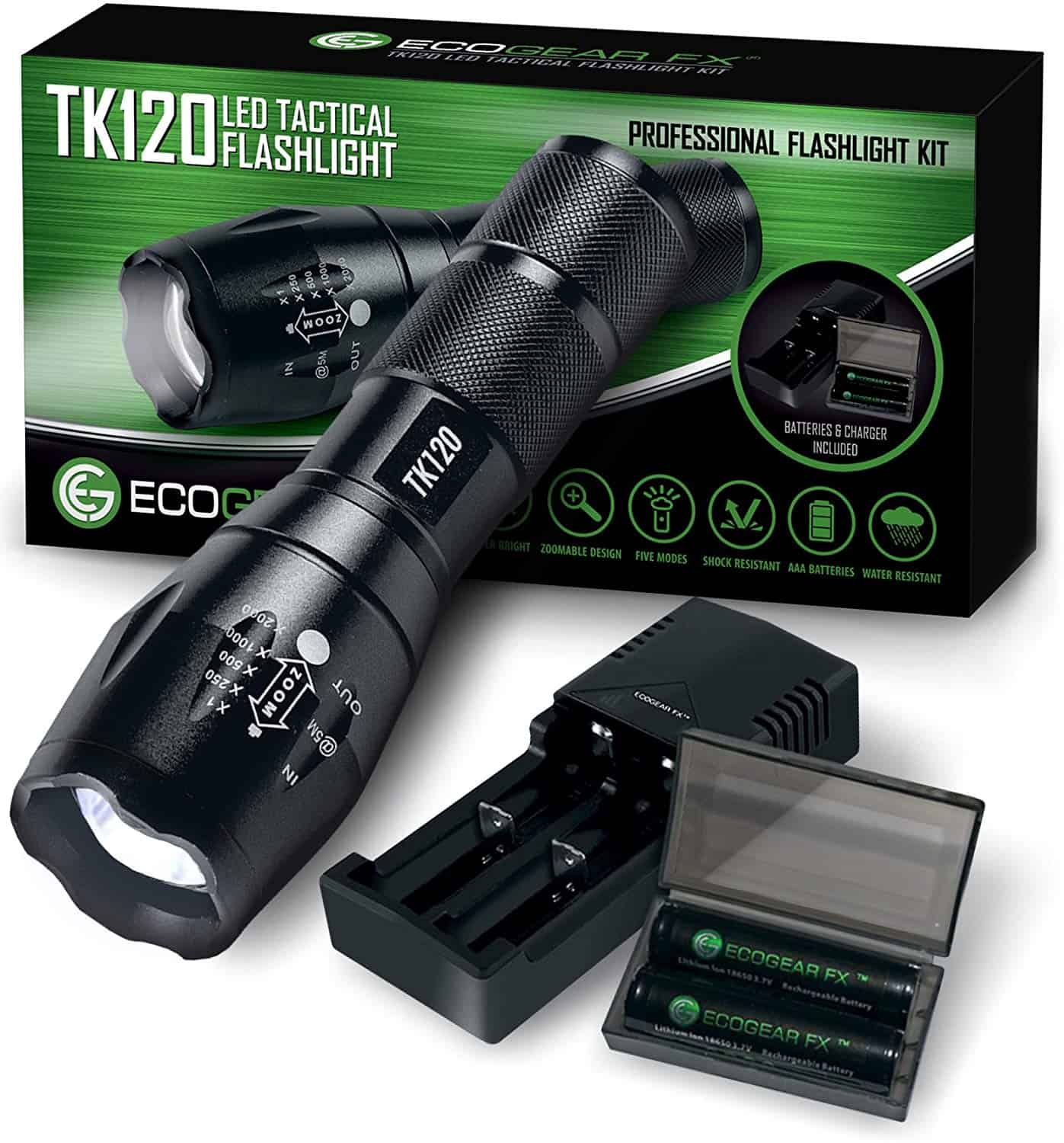Complete LED Tactical Flashlight Kit - EcoGear FX TK120: Handheld Light with 5 Light Modes, Water Resistant, Zoomable - Includes Rechargeable Batteries and Battery Charger