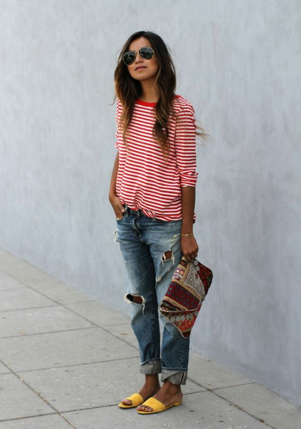 jeans-boyfriend-femme-ootd-rouge-et-blanc-t-shirt