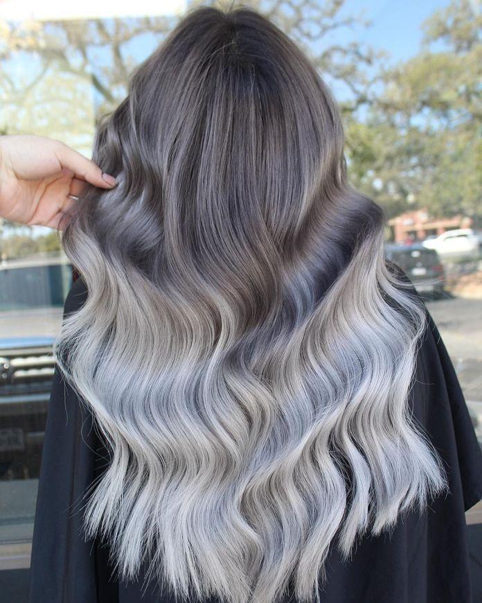 Cheveux longs bruns à argentés