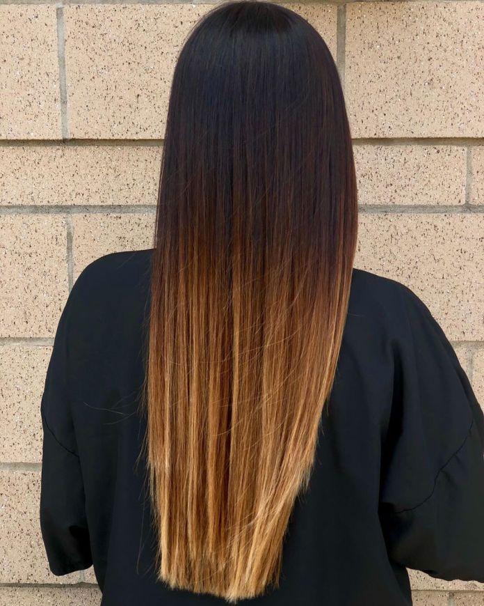 Ombre caramel pour cheveux raides