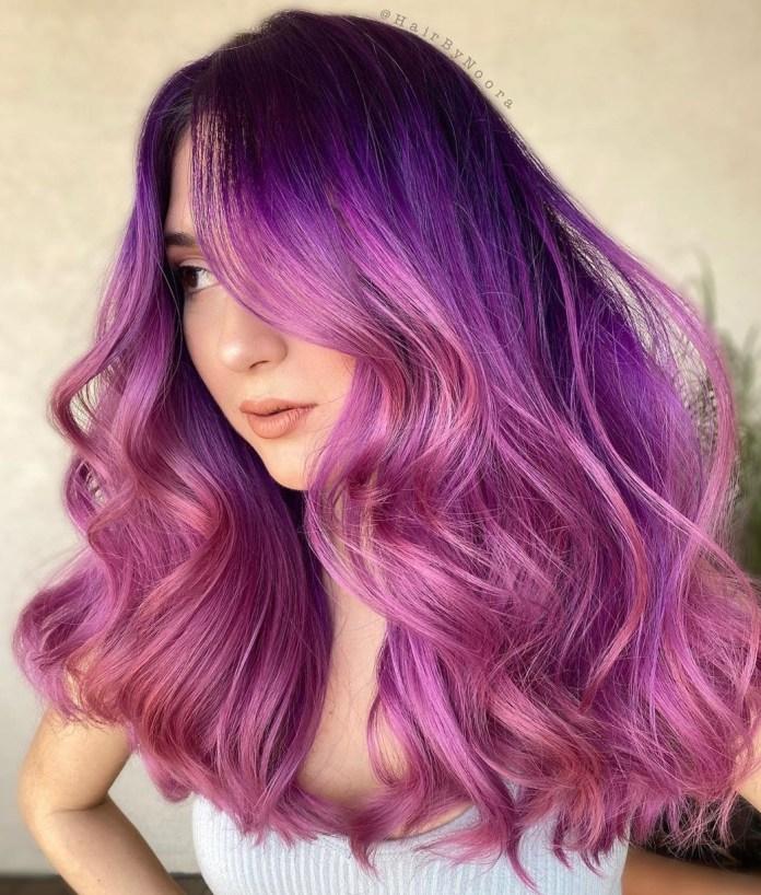 Balayage rose et violet