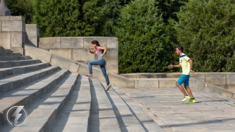 International tourists run up the 72 stone steps of the The Philadelphia Museum of Art in Philadelphia, PA, that were made famous by the Oscar-winning film Rocky and five of its sequels.