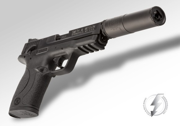 "The Innovative Arms, LLC Slingshot Micro, Multi-Caliber suppressor pictured on a Smith & Wesson Corp. M&P® 22 host. We had the opportunity to photograph this product in studio on October 20, 2015 for the SHOT Show 2016 product launch.The Slingshot Micro consists of a patented 3-piece design, measures 3.9"" in length, weighs in at 5.7oz, and is rated for 35-38 Db of sound suppression (dry) when firing .22 LR (full auto), .17HMR, .17 Mach II, .22 Magnum, and 5.7x28."