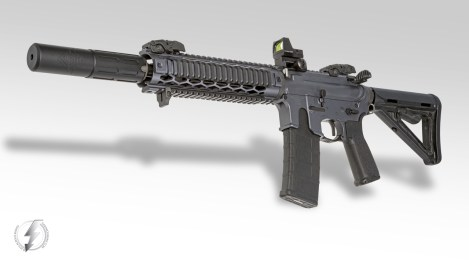 """The Innovative Arms INTERCEPTOR™ 5.56 gives excellent sound suppression, recoil reduction and precision accuracy in a compact package. Seen here mounted to a Custom 12"""" AR-15 SBR. All INTERCEPTORS are full auto rated on barrels down to 10″ and are available with or without our patented Exoskeleton Shroud and in colors: Black, OD Green, Flat Dark Earth or Brushed Stainless."""