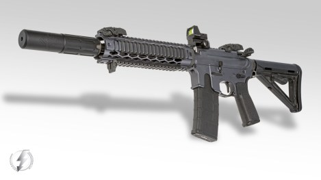 "The Innovative Arms INTERCEPTOR™ 5.56 gives excellent sound suppression, recoil reduction and precision accuracy in a compact package. Seen here mounted to a Custom 12"" AR-15 SBR. All INTERCEPTORS are full auto rated on barrels down to 10″ and are available with or without our patented Exoskeleton Shroud and in colors: Black, OD Green, Flat Dark Earth or Brushed Stainless."