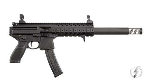 Photographed in studio, the Innovative Arms Sig MPX Integral features an aluminum body and a one piece billet core that is machined from 17-4ph stainless steel and is user serviceable.