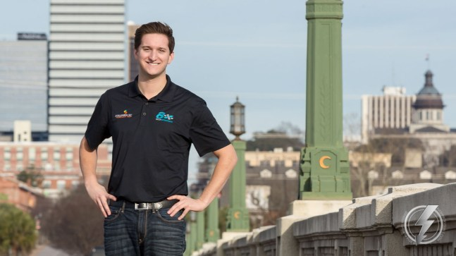NASCAR Camping World Truck Series driver Jordan Anderson poses on the Gervais Street Bridge with this hometown, Columbia, SC in the background.