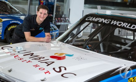 Driver Jordan Anderson poses with the Columbia, SC Famously Hot Chevrolet Silverado for the first time.
