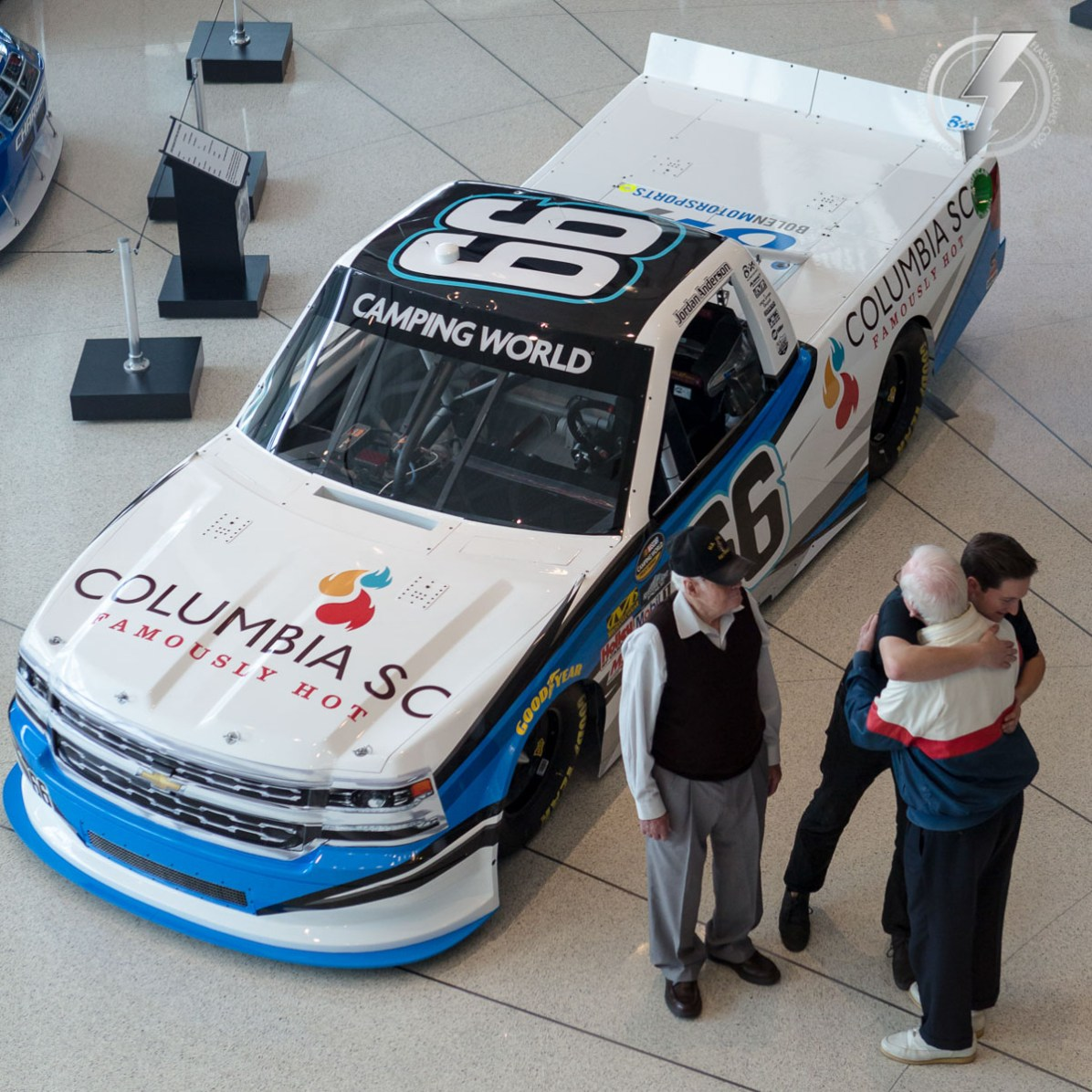 NASCAR Camping World Truck Series Driver Jordan Anderson spends a private moment with this grandfathers after unveiling his 2016 sponsor Columbia, SC and his new team Bolen Motorsports.