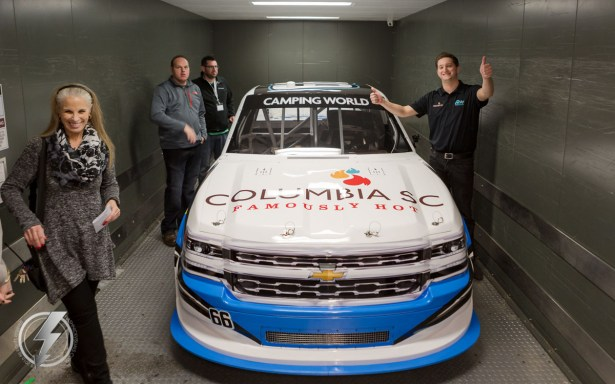 Jordan Anderson and his crew roll the #66 Columbia, SC Famously Hot Chevrolet Silverado into the NASCAR Hall of fame for the announcement.