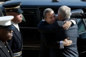 U.S. Defense Secretary Chuck Hagel, right, embraces Israeli Defense Minister Ehud Barak as he arrives at the Pentagon, March 5, 2013. DOD photo by Erin A. Kirk-Cuomo (Official DOD photo)