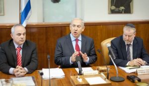 Netanyahu talking at the cabinet meeting Tuesday morning. (Photo by Emil Salman/Haaretz).