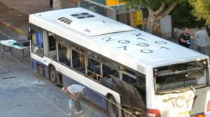 The bus in Bat Yam after a bomb on board exploded Sunday. (photo credit: Yossi Zeliger/Flash90/Times of Israel)