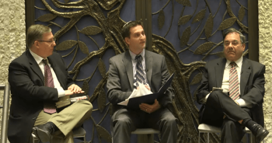 Rabbi Shlomo Riskin (right), moderator David Nekrutman, and me speaking at Lincoln Square Synagogue on Tuesday evening.