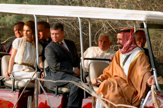 Jordan's Queen Rania (left), King Abdullah II (in the suit), Pope Benedict, and Prince Ghazi (right) touring Jordan in May 2010.