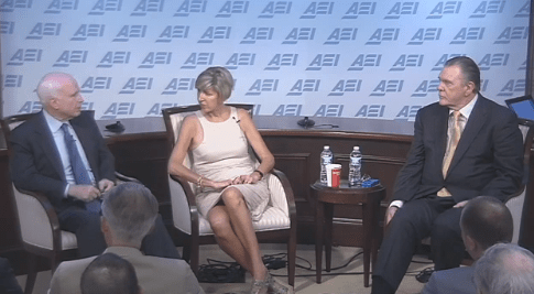 Sen. John McCain and U.S. Army General (ret.) Jack Keane speaking at AEI on June 18, 2014.