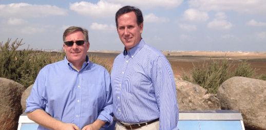 Standing with Sen. Rick Santorum near the border of Gaza on Tuesday.