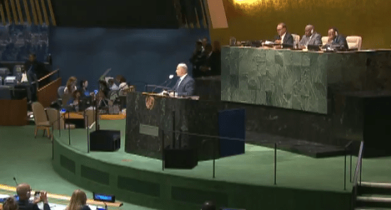 "Israeli Prime Minister Netanyahu addressed the UN General Assembly on Monday on the threat of ""militant Islam"" to his country and the world."