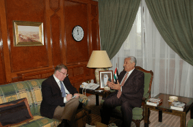 "Meeting with Jordan's Prime Minister Abdullah Ensour in Amman as part of the research for ""The Third Target."""