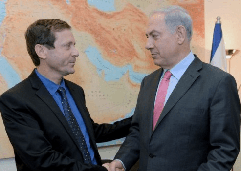 "Zionist Union leader Isaac (""Bouji"") Herzog (left), with Prime Minister Benjamin (""Bibi"") Netanyahu in November 2013. (photo credit: Kobi Gideon/Flash90/Times of Israel)"
