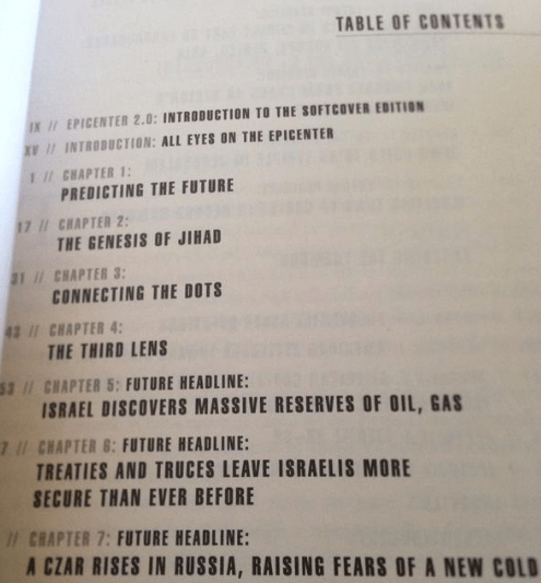 "The table of contents of ""Epicenter,"" from 2006."