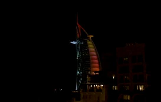 burj al arab dubai hotel in sunset