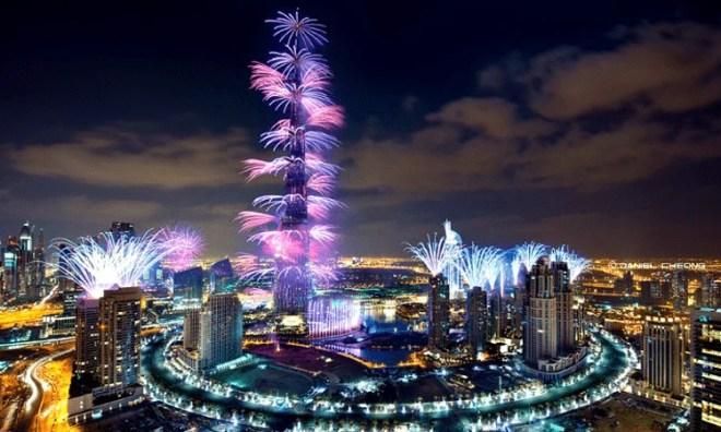 Downtown Dubai New Year fireworks
