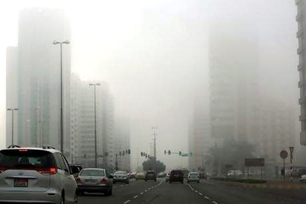 thick fog in Dubai