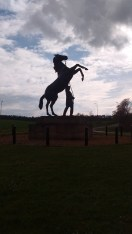 Rearing Horse and Handler Statue