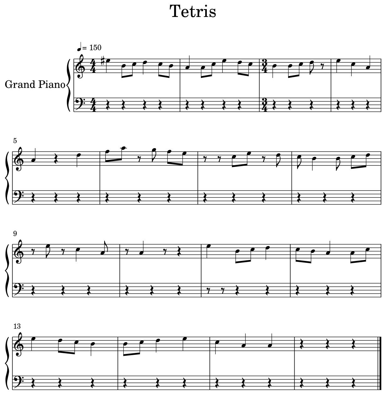 Tetris - Sheet music for Piano