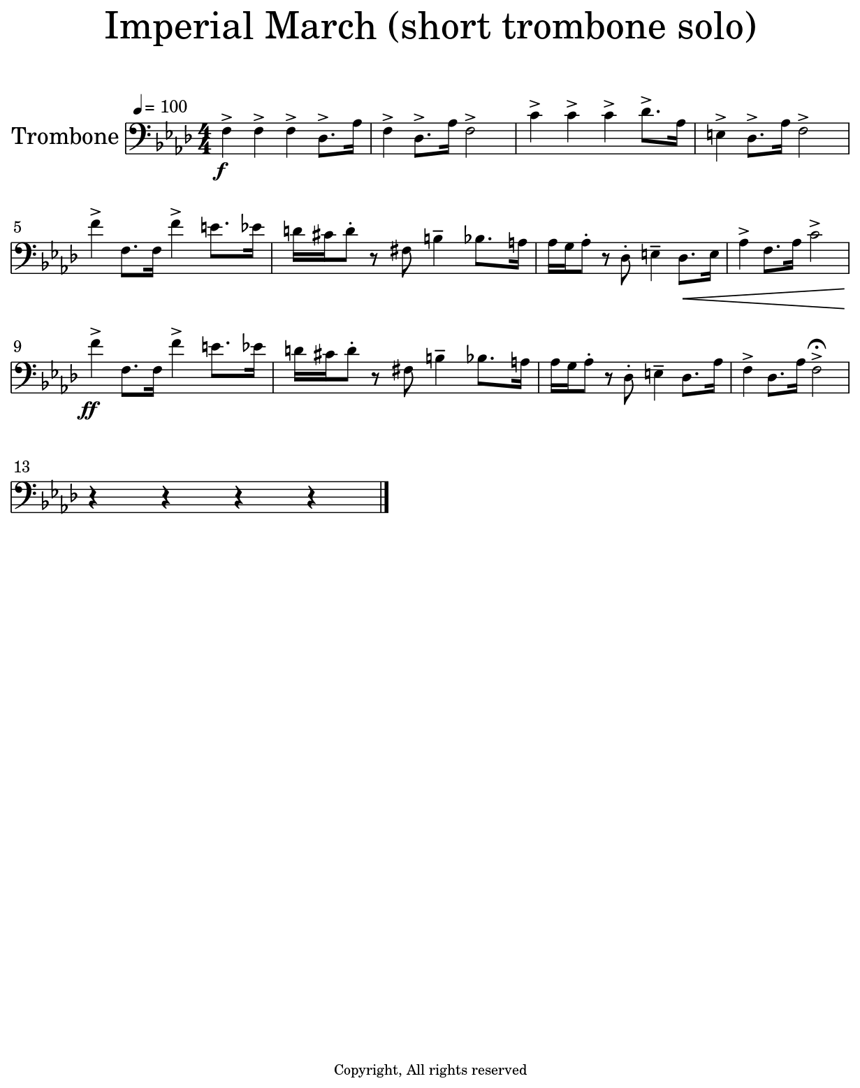 Imperial March Trombone Sheet Music : imperial, march, trombone, sheet, music, Imperial, March, (short, Trombone, Solo)