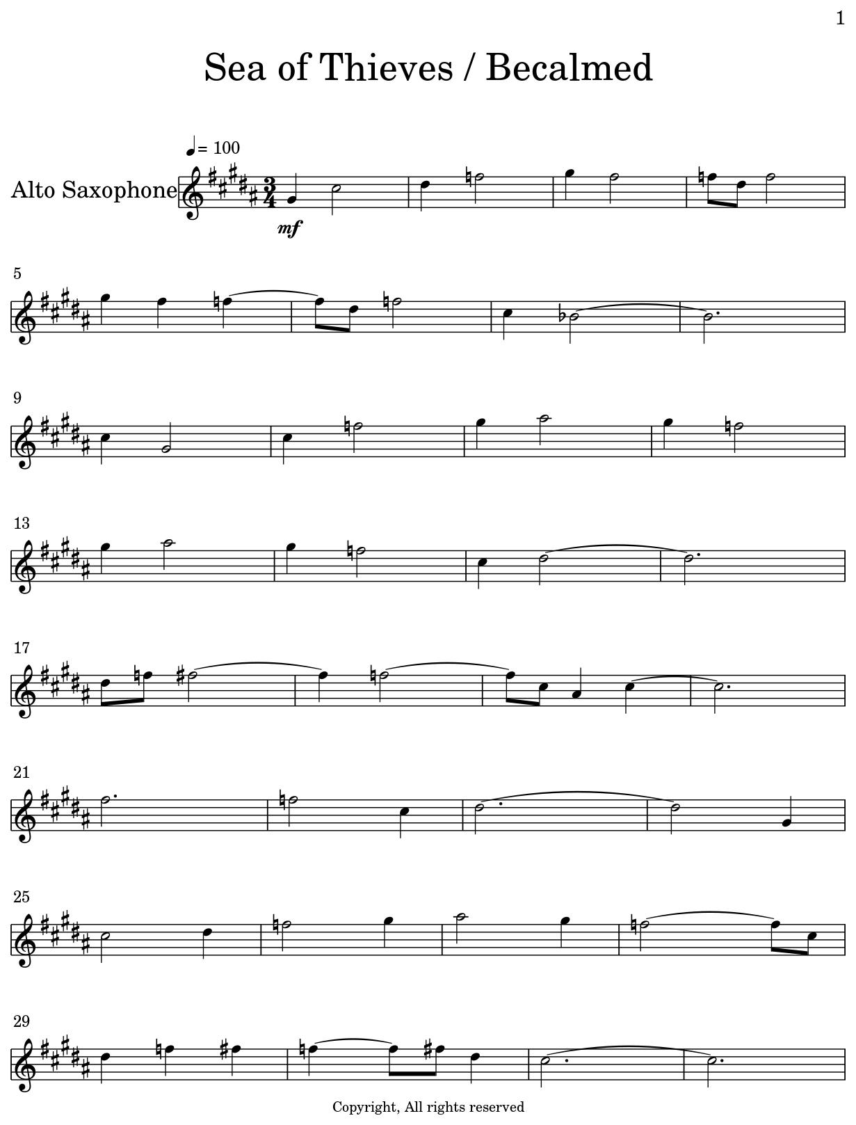 Sea Of Thieves Sheet Music : thieves, sheet, music, Thieves, Becalmed