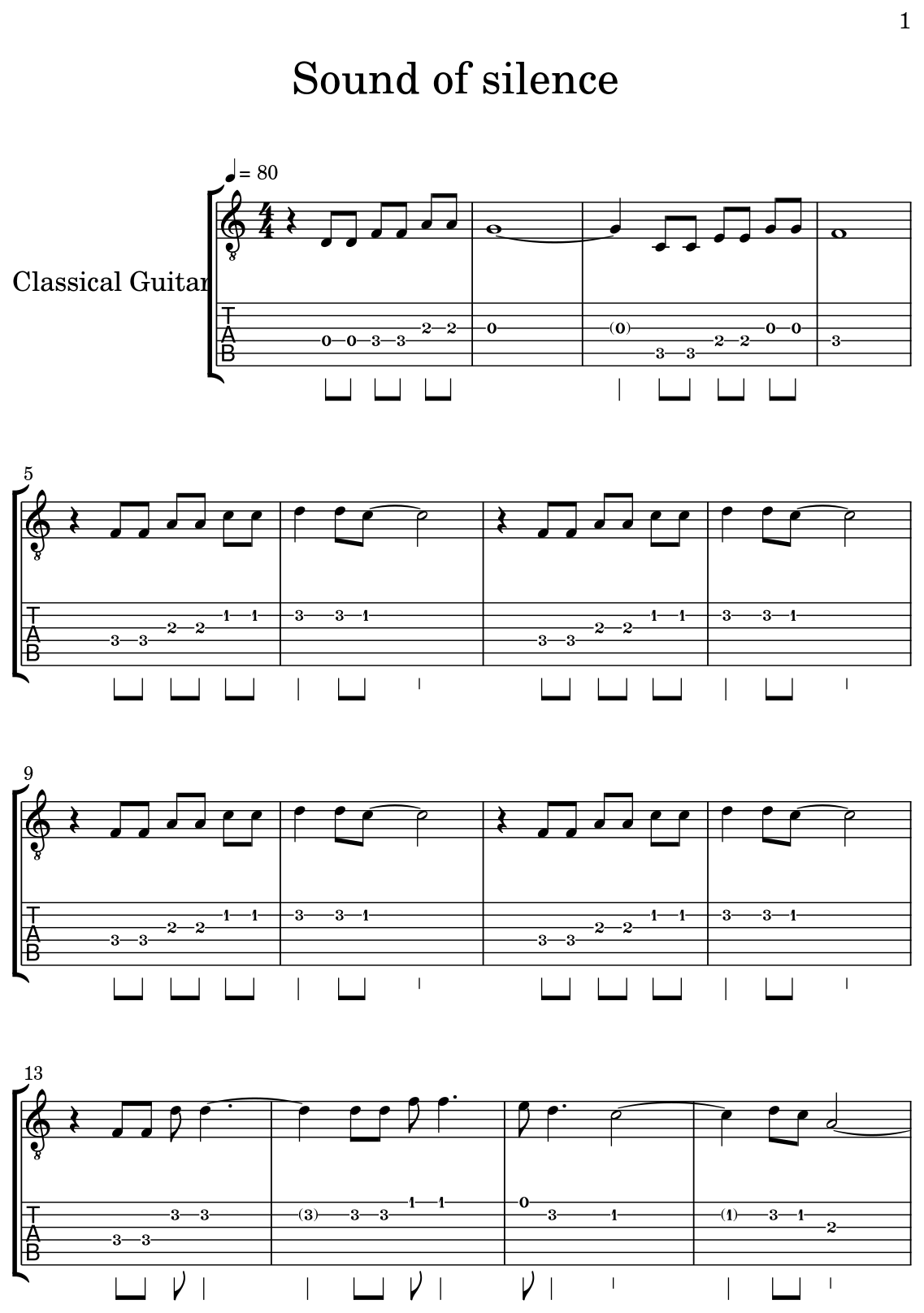 Sound of silence - Sheet music for Classical Guitar