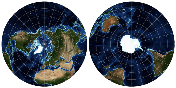 Azimuthal equidistant map globes
