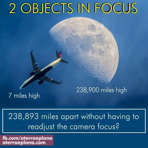camera focus on plane and moon supposedly prove flat earth