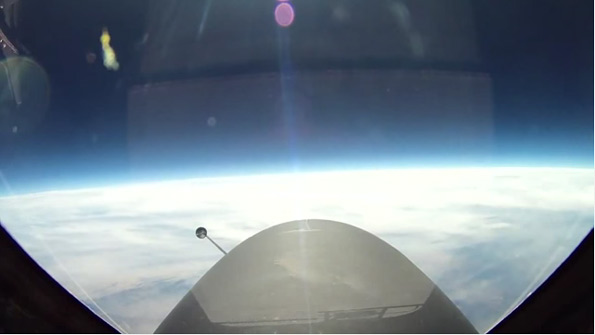 This picture was taken from a U2 spy plane by the manufacturer, Lockheed, at 70,000 feet. It is facing through the windshield, to eliminate the curve created by curved glass on the side of the plane.