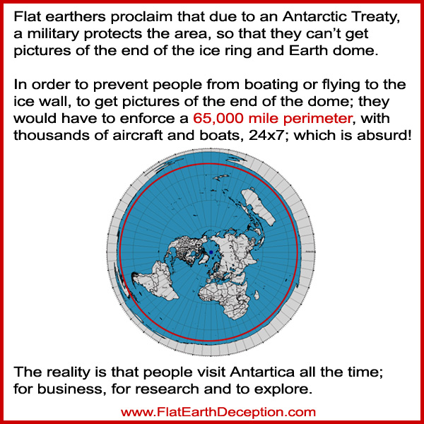 The idea that the 65,000 mile perimeter around the supposed flat earth ice wall, is protected 24x7, is ridiculous!
